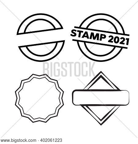 Red Stamps. Grunge Rubber Stamp. Circle Stamps