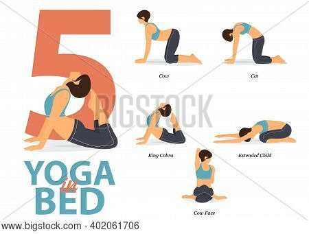 Infographic Of 5 Yoga Poses For Easy Yoga At Home  In Flat Design. Beauty Woman Is Doing Exercise Fo