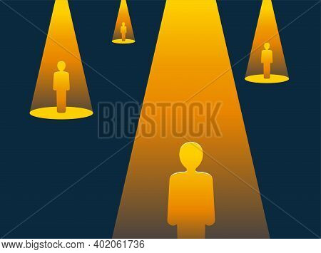 Recruitment Or Leadership Concept. Highlighted Chosen People In Darkness - Creative Visualization Of