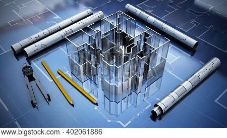 Architectural Plans, House Model, Pencil And Compasses. 3d Illustration.
