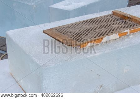 Handmade Instrument For Making Ice Sculpture During Christmas Holidays Festival. Ice And Snow Sculpt