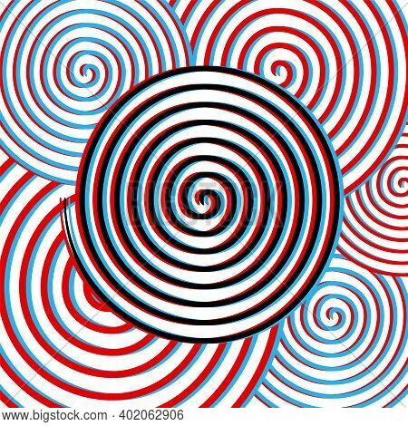 Hypnosis Swirling Spirals In Stereoscopic Decoration - Vortex Centrifuge In Red And Blue Channels Se