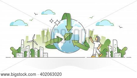 Environmental Awareness, Earth Sustainability Preservation Outline Concept