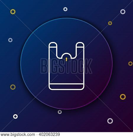 Line Plastic Bag Icon Isolated On Blue Background. Disposable Cellophane And Polythene Package Prohi