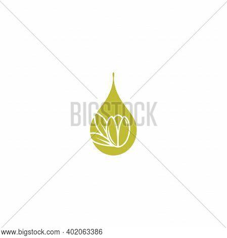 Argan Nut With Oil Drop Icon. Beauty And Cosmetics Oil. Cosmetic Ingredient Carotene, Carotin. Argan
