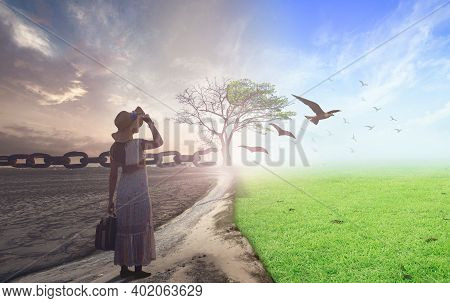New Normal Concept: Woman Standing Between Climate Worsened With Good Atmosphere And Birds Flying An