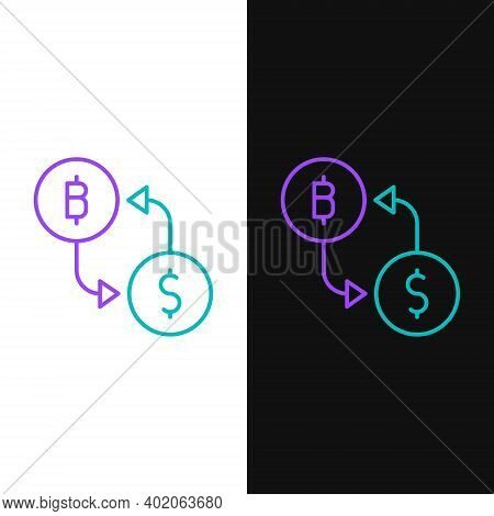 Line Cryptocurrency Exchange Icon Isolated On White And Black Background. Bitcoin To Dollar Exchange