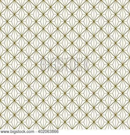 Japanese Seamless Kumiko Pattern In Golden With Average And Fine Thickness Lines.
