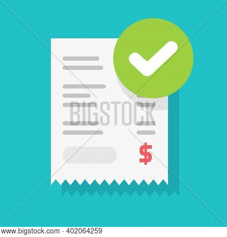 Success Approved Payment Check Mark Notification On Paper Receipt Bill Invoice Vector Flat Cartoon I