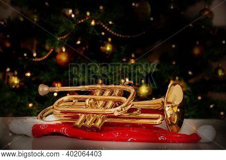 Cornet - Brass Musical Instrument - Christmas Tree