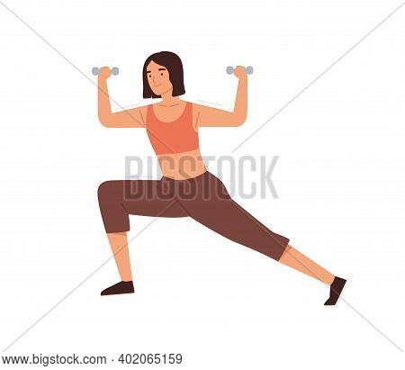 Woman Training, Doing Lunges With Dumbbell Vector Flat Illustration. Female Practicing Warming Up Or
