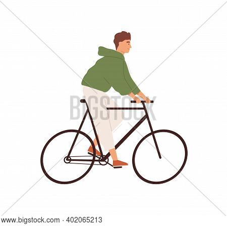 Funny Man Riding Street Bicycle Vector Flat Illustration. Happy Male Ride On Urban Eco Friendly Pers
