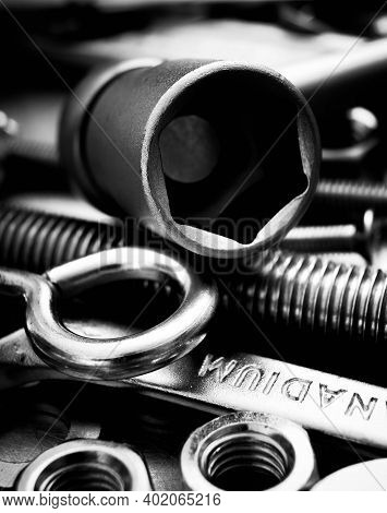 Metal Tools. Metal Style. Wrench And Other Metal Tools On Scratched Metal Background.