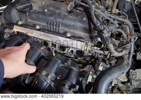 Car Engine Repair, Intake Manifold, Connection Of Lpg Injectors.