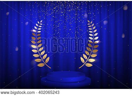 Blue Curtain, Laurel Twigs Realistic Illustration. Golden Glitters, Bokeh Effect. Retro Crimson Back