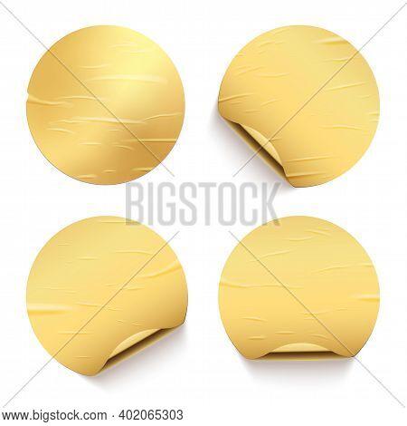 Gold Glued Round Stickers With Golden Back Side Curling Set. 3d Circular Shaped Blank Paper Labels V