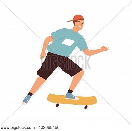Teenager Riding On Skateboard Vector Flat Illustration. Smiling Male Teen In Baseball Cap Enjoy Extr
