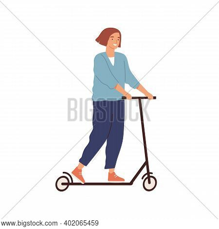 Cheerful Woman Riding Kick Scooter Vector Flat Illustration. Smiling Female Ride Eco Friendly Person