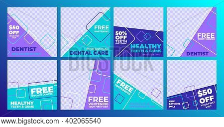 Flat Banners Set Social Media Post Dental. Professional Dental Care, Healthy Teeth And Gums, Vector
