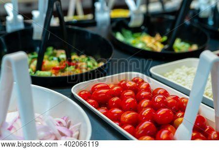 Salad Bar Buffet At Restaurant. Fresh Salad Bar Buffet For Lunch Or Dinner. Healthy Food. Selective