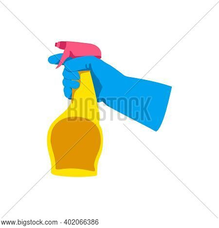 Hand Holding Sprayer Bottle. Gloved Hand With Detergent Supply Product. Cleaning Service, Housework,