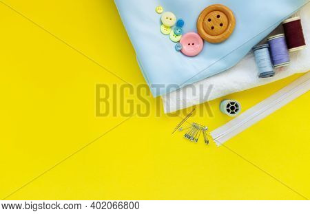 Sewing Kit And Cloth Materials With Dressmaking Sewing Utensils Needlework Concept, Hobbie At Home