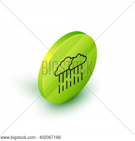 Isometric Line Cloud With Rain Icon Isolated On White Background. Rain Cloud Precipitation With Rain