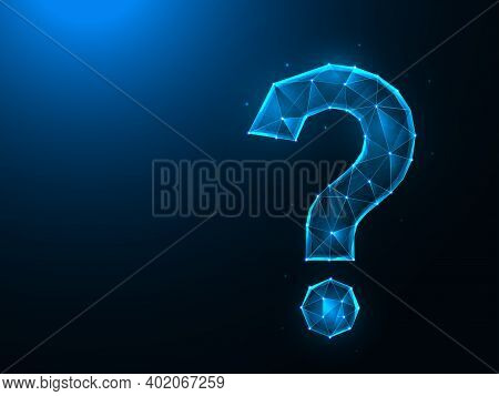 Question Mark Low Poly Design. Punctuation Mark, Question Polygonal Vector Illustrations On A Blue B