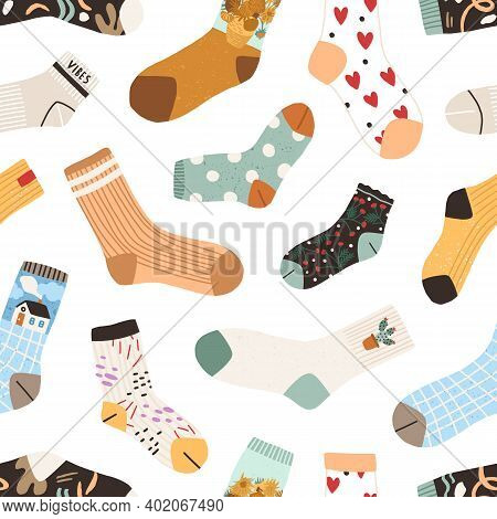 Seamless Texture With Cute Cotton And Woolen Socks With Different Drawings, Patterns And Designs Iso