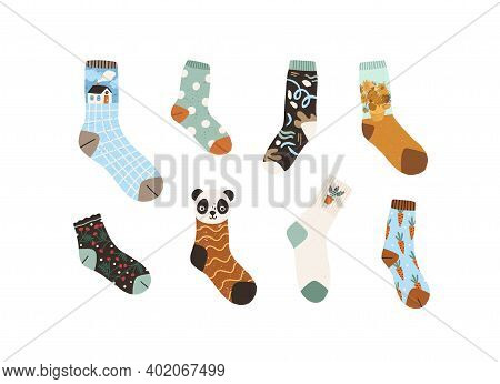 Set Of Stylish Cotton And Woolen Socks With Different Drawings, Patterns And Designs. Collection Of