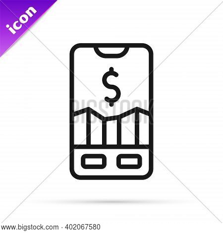 Black Line Mobile Stock Trading Concept Icon Isolated On White Background. Online Trading, Stock Mar