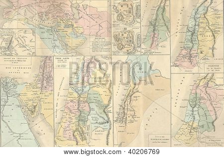Antique Map Of Bible And Holy Land,