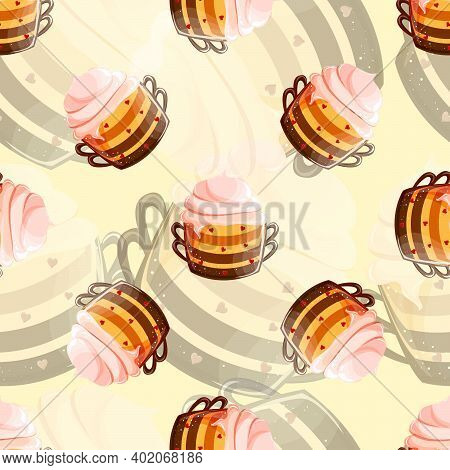 Childrens Texture. Seamless Background With Mug And Pudding. Pattern In Beige And Yellow. Bright Str