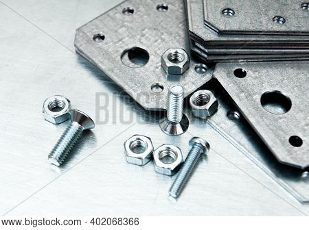Metal Working Tools. Metal Style. Metal Preparations And Fixing Elements On The Scratched Metal Back