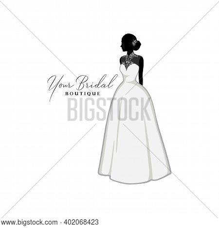 Wedding Lace Dresses Boutique Logo, Bridesmaid Gown Logo, Bridal Gown Logo Vector Design Template