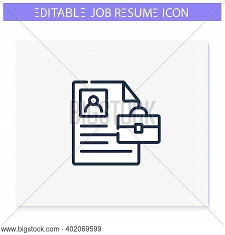 Professional Summary Line Icon. Curriculum Vitae. Short Career Biography. Personal Recruitment Infor