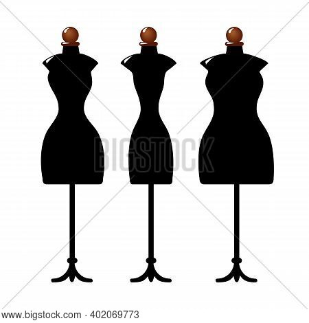 Three Old Cracked Female Body Shape Mannequins. Torso Dummy For Woman Tailor Mannequins. Three Types