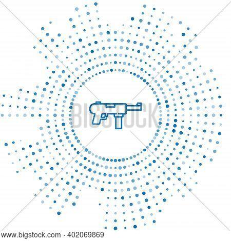 Blue Line Submachine Gun M3, Grease Gun Icon Isolated On White Background. Abstract Circle Random Do
