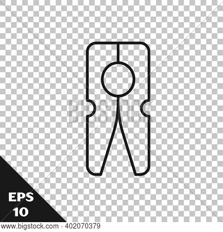 Black Line Old Wood Clothes Pin Icon Isolated On Transparent Background. Clothes Peg. Vector
