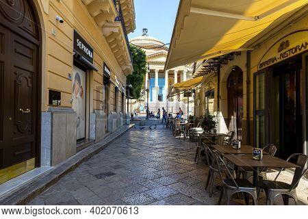 Palermo, Sicily, June 27, 2019: The Historic Center Of Palermo, Via Bara All'olivella