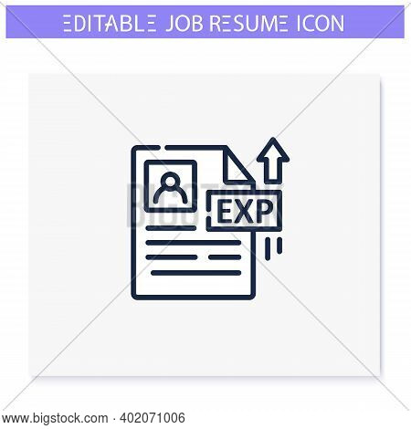 Career Experience Line Icon. Career Biography, Resume Column. Personal Recruitment Information. Job