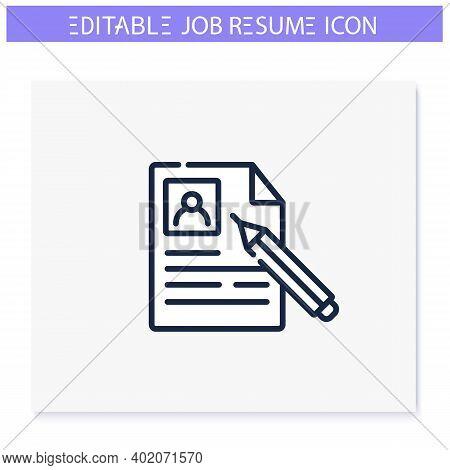 Job Resume Line Icon. Cv Letter, Document, List. Personal Recruitment Information. Career Biography.