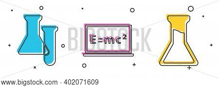 Set Test Tube And Flask, Equation Solution And Test Tube And Flask Icon. Vector