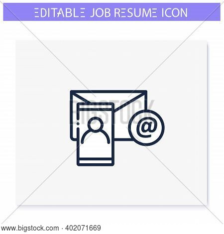 Contact Information Line Icon. Personal Email Link And Phone Number. Personal Recruitment Informatio