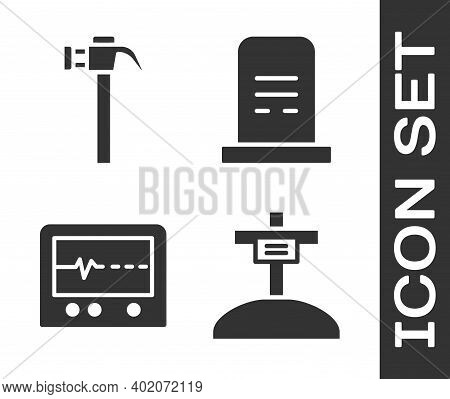 Set Grave With Cross, Hammer, Beat Dead In Monitor And Grave With Tombstone Icon. Vector