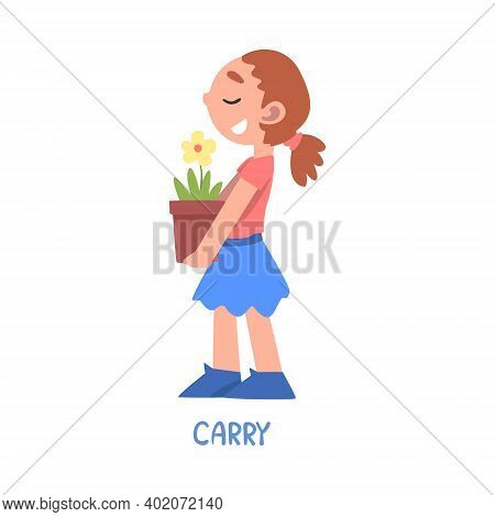 Carry Word, The Verb Expressing The Action, Children Education Concept, Cute Girl Carrying Flower Po