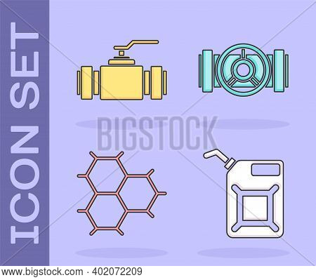 Set Canister For Gasoline, Industry Metallic Pipes And Valve, Chemical Formula Consisting Of Benzene