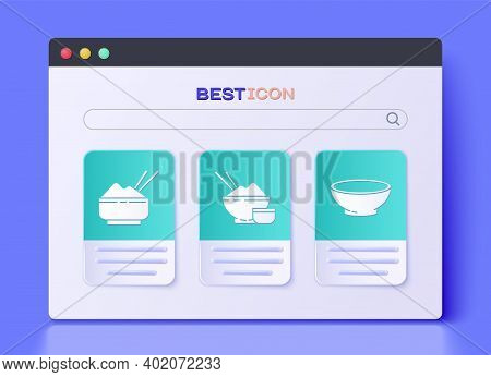 Set Rice In A Bowl With Chopstick, Rice In A Bowl With Chopstick And Bowl Of Hot Soup Icon. Vector
