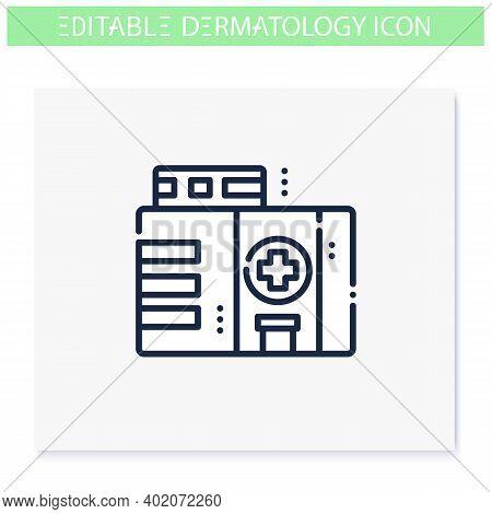 Dermatology Clinic Line Icon. Skincare, Cosmetology Medical Center. Skin Problems, Dermatologic Dise