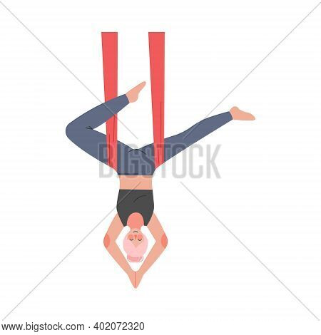 Girl Doing Air Yoga, Slim Young Woman In Sportswear Practicing Aero Yoga Inverted Pose With Hammock,